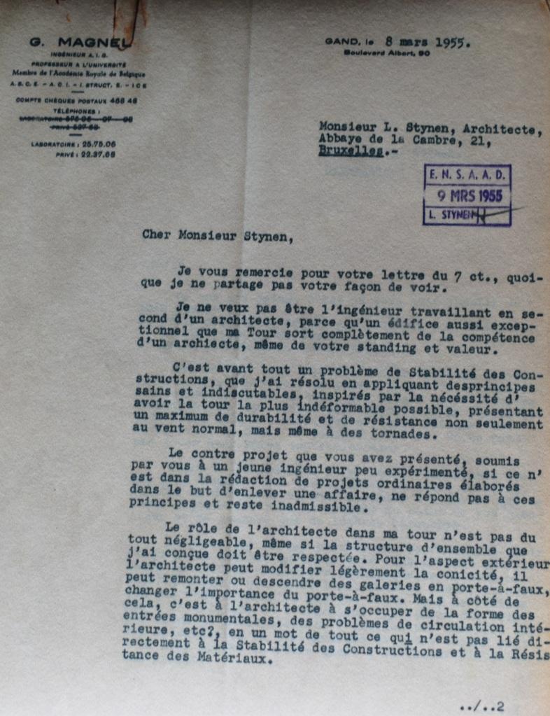 Carta de Gustave Magnel a León Stynen, 1955